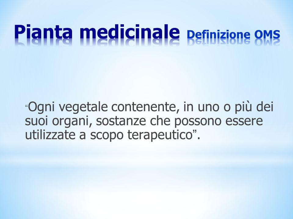 Pianta medicinale Definizione OMS