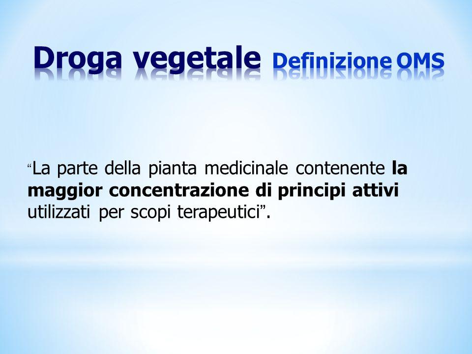 Droga vegetale Definizione OMS