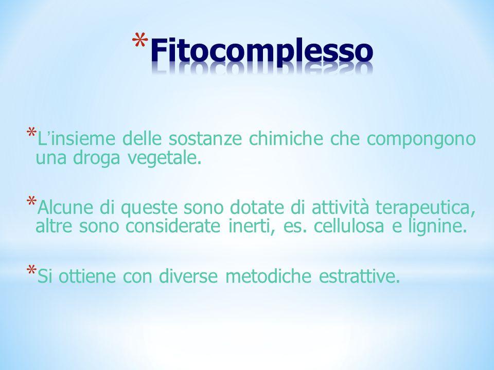 Fitocomplesso L'insieme delle sostanze chimiche che compongono una droga vegetale.