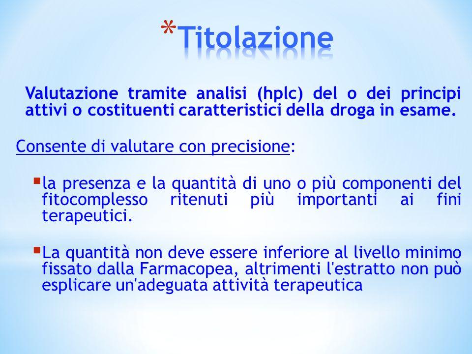 TitolazioneValutazione tramite analisi (hplc) del o dei principi attivi o costituenti caratteristici della droga in esame.