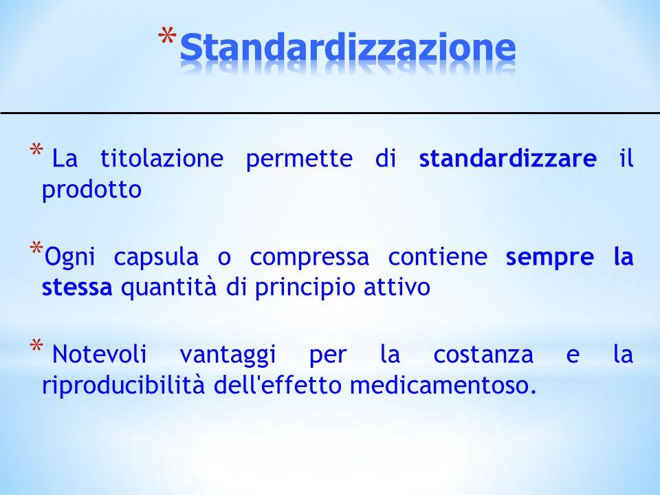 Standardizzazione La titolazione permette di standardizzare il prodotto.