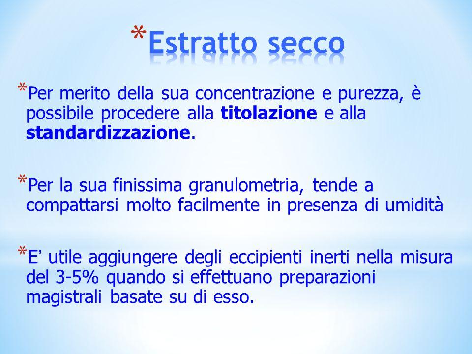 Estratto seccoPer merito della sua concentrazione e purezza, è possibile procedere alla titolazione e alla standardizzazione.