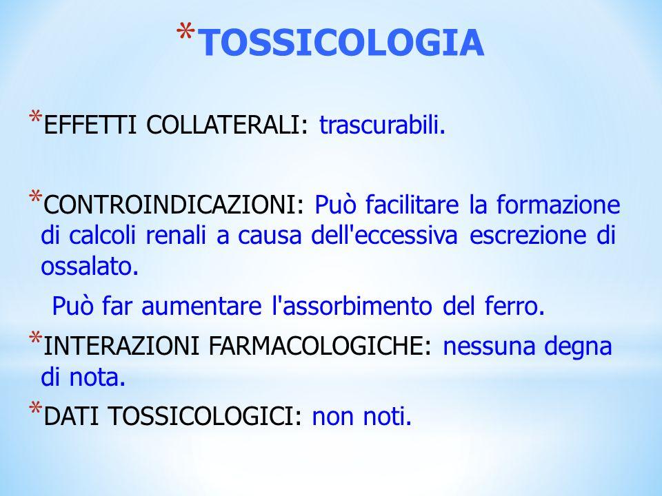 TOSSICOLOGIA EFFETTI COLLATERALI: trascurabili.
