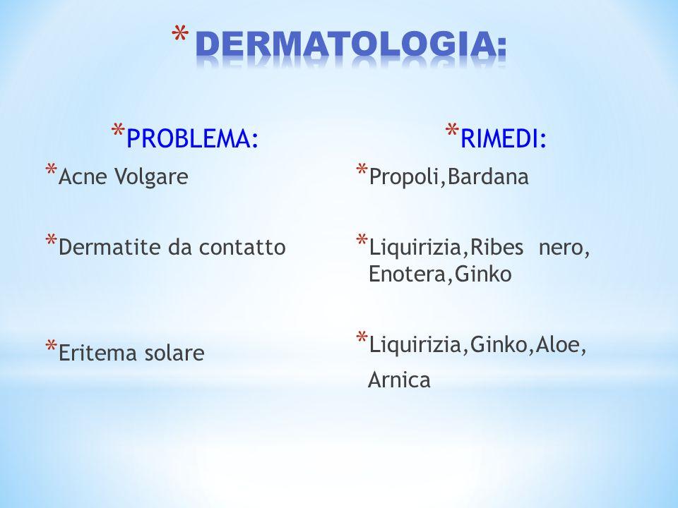 DERMATOLOGIA: PROBLEMA: RIMEDI: Acne Volgare Dermatite da contatto