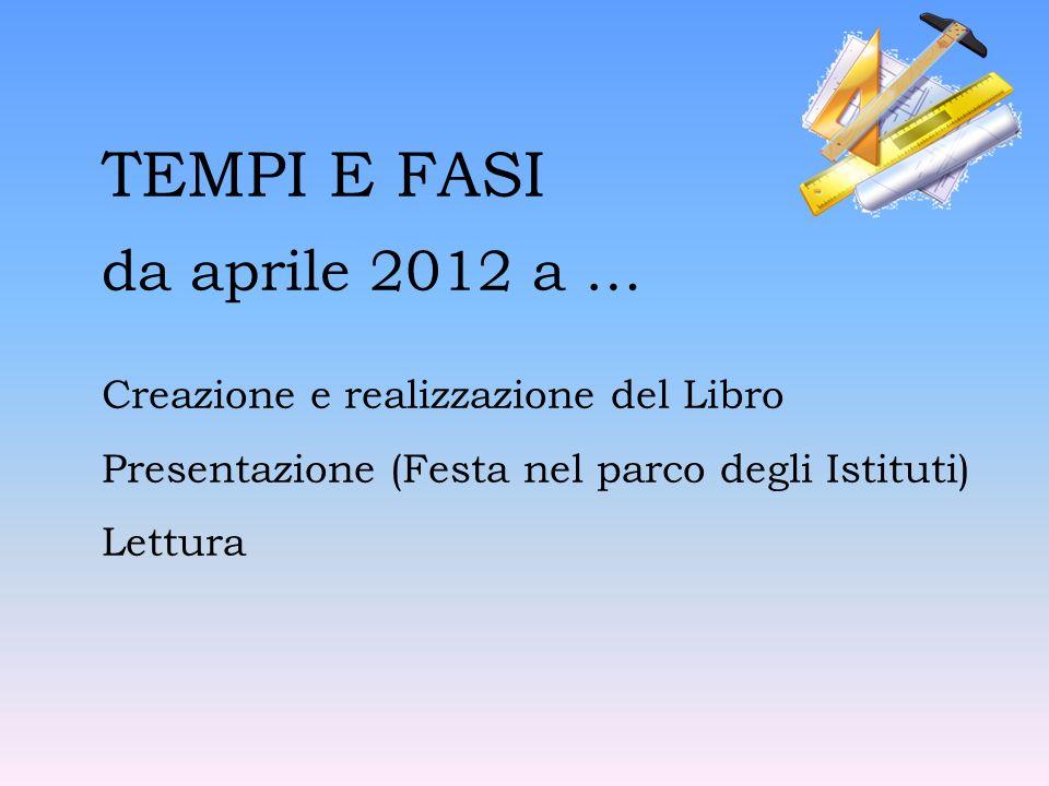 TEMPI E FASI da aprile 2012 a … Creazione e realizzazione del Libro