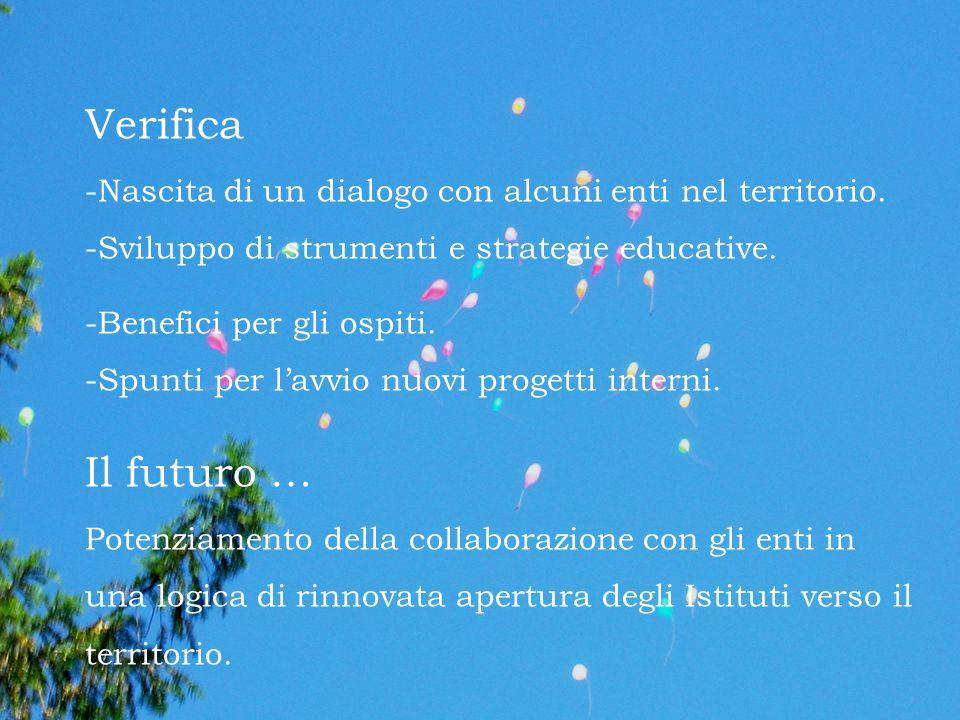 Verifica -Nascita di un dialogo con alcuni enti nel territorio. -Sviluppo di strumenti e strategie educative.
