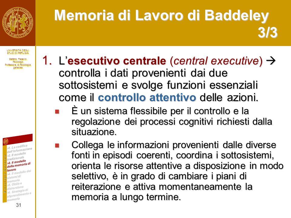 Memoria di Lavoro di Baddeley 3/3