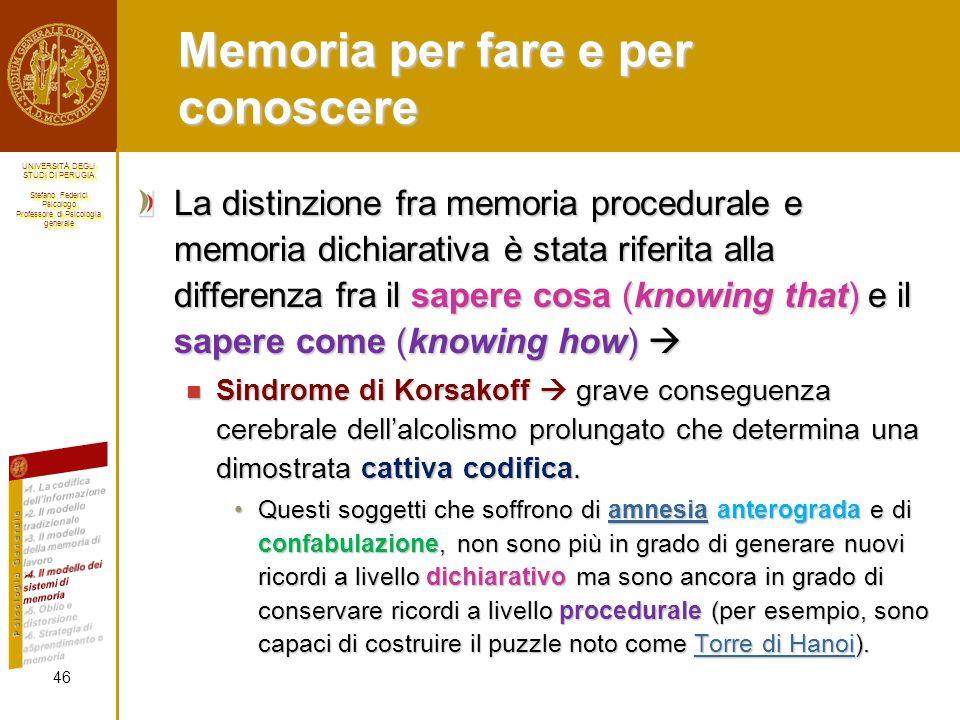 Memoria per fare e per conoscere