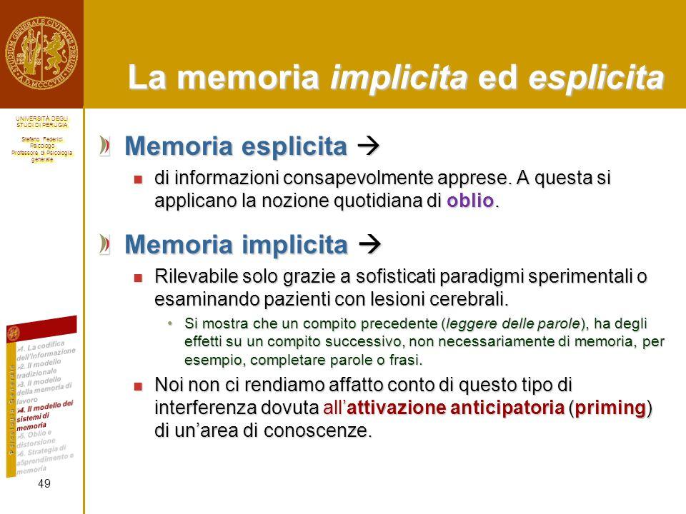 La memoria implicita ed esplicita