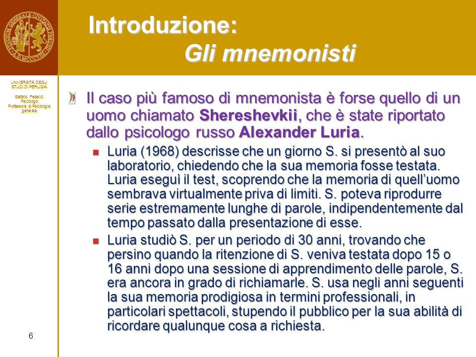 Introduzione: Gli mnemonisti