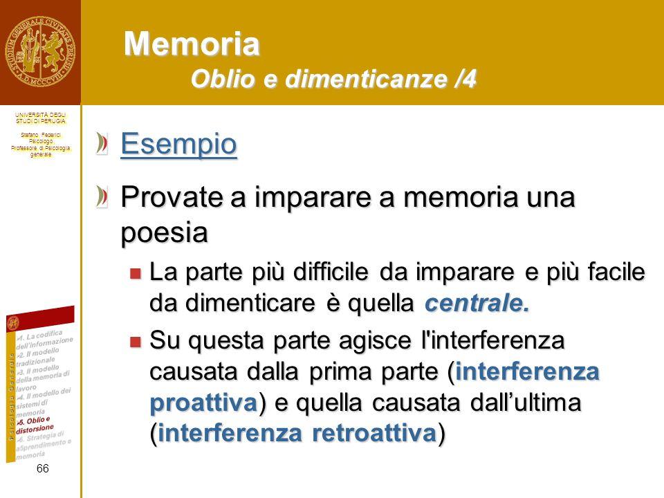 Memoria Oblio e dimenticanze /4