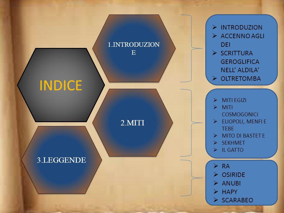INDICE 2.MITI 3.LEGGENDE INTRODUZION ACCENNO AGLI DEI