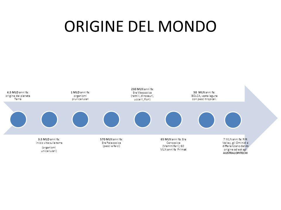 ORIGINE DEL MONDO 4.5 MLD anni fa: origine del pianeta Terra