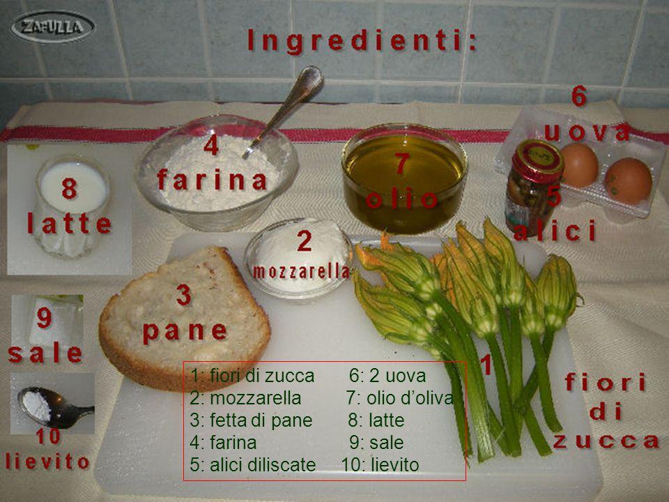 1: fiori di zucca 6: 2 uova 2: mozzarella 7: olio d'oliva. 3: fetta di pane 8: latte.