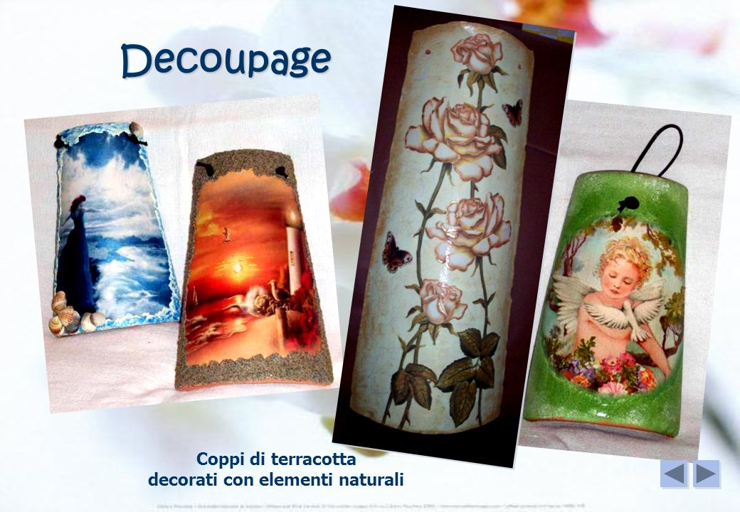 Coppi di terracotta decorati con elementi naturali