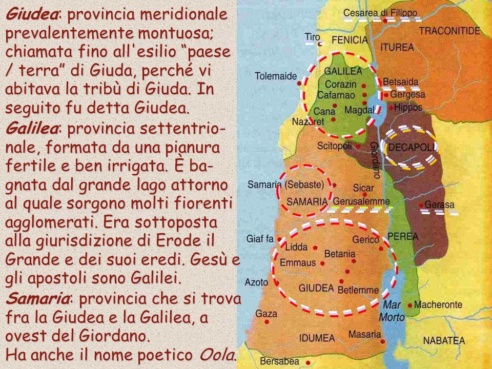 Giudea: provincia meridionale prevalentemente montuosa; chiamata fino all esilio paese / terra di Giuda, perché vi abitava la tribù di Giuda. In seguito fu detta Giudea.