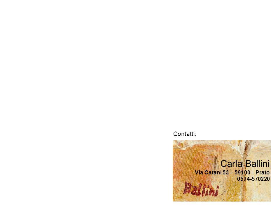 Contatti: Carla Ballini Via Catani 53 – 59100 – Prato 0574-570220