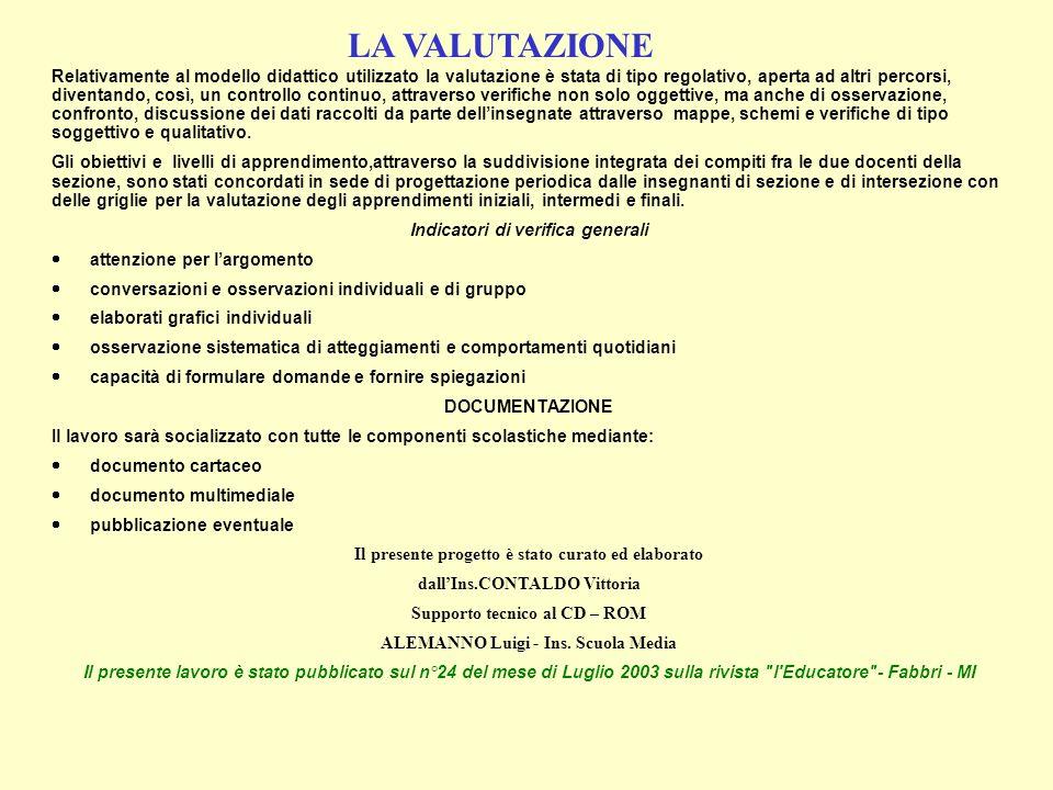 Indicatori di verifica generali ALEMANNO Luigi - Ins. Scuola Media