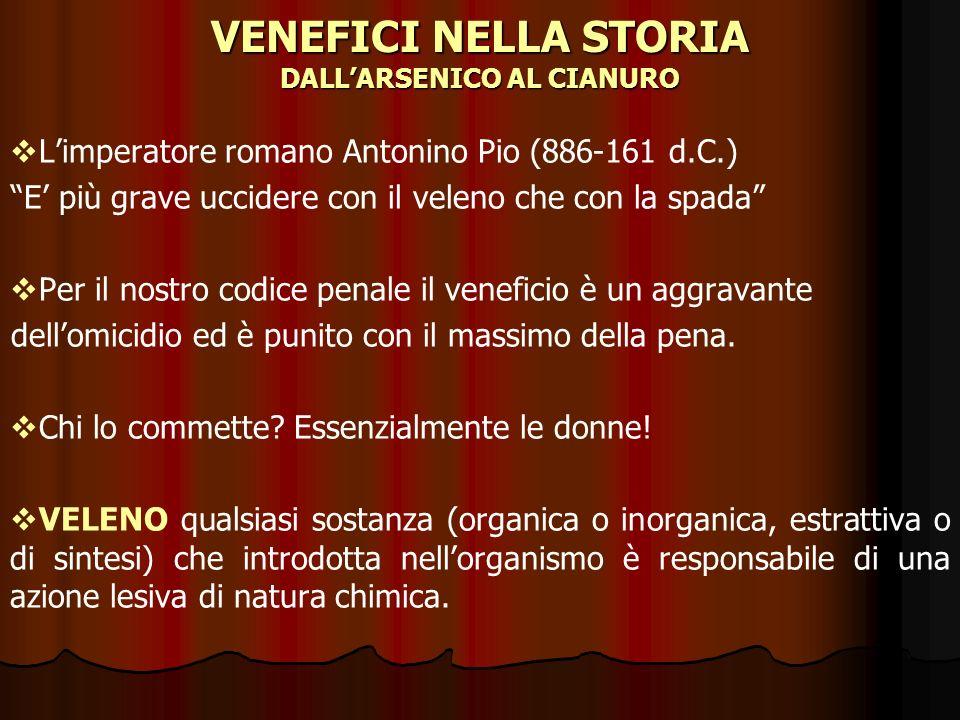 VENEFICI NELLA STORIA DALL'ARSENICO AL CIANURO