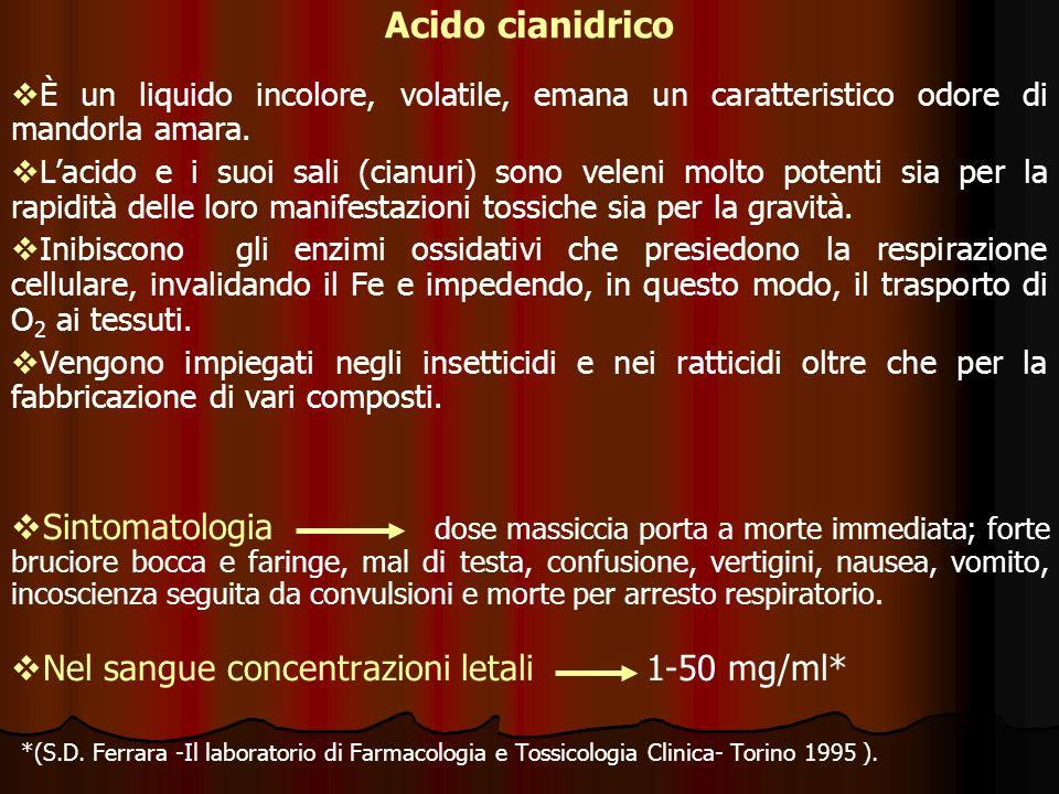 Acido cianidrico È un liquido incolore, volatile, emana un caratteristico odore di mandorla amara.