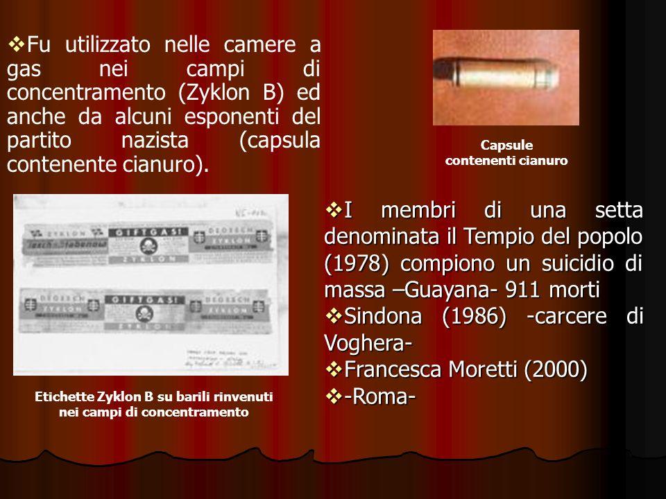 Sindona (1986) -carcere di Voghera- Francesca Moretti (2000) -Roma-