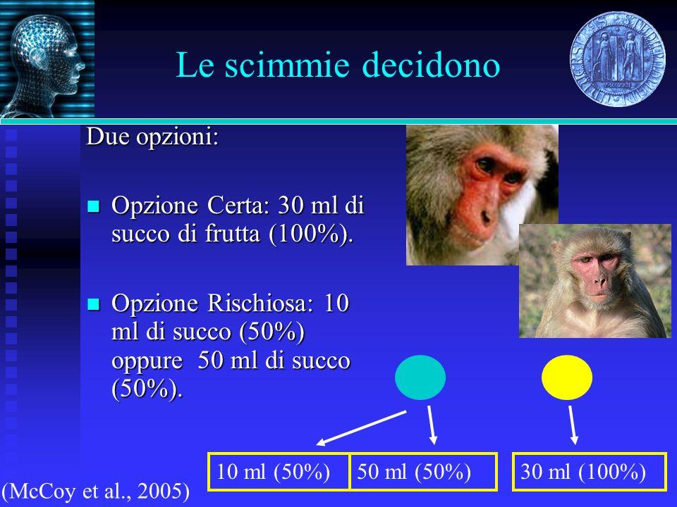 Le scimmie decidono Due opzioni: