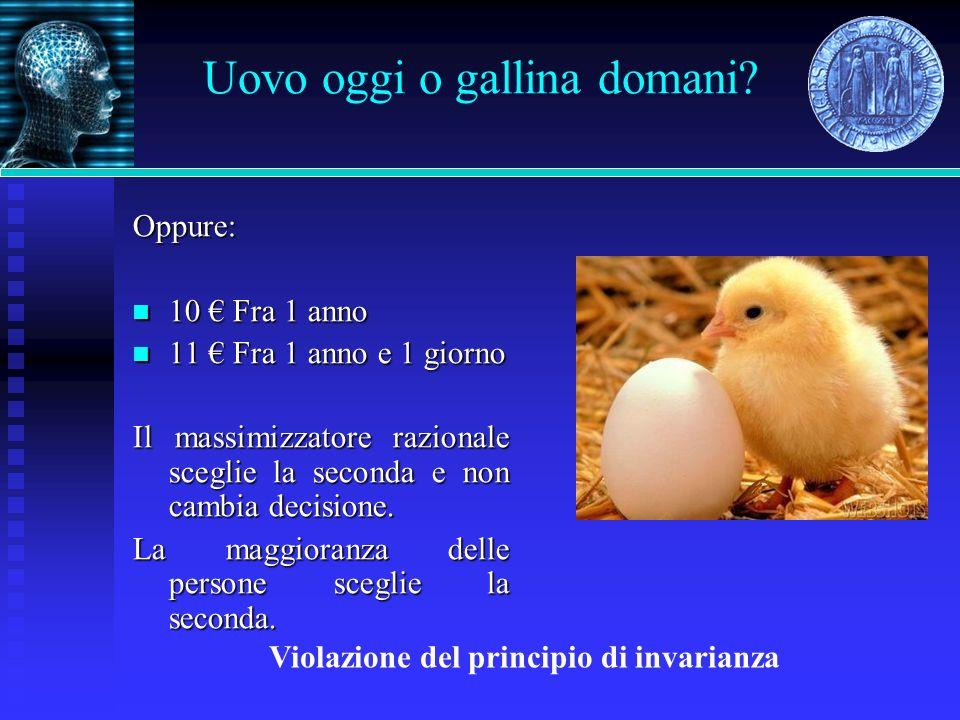 Uovo oggi o gallina domani