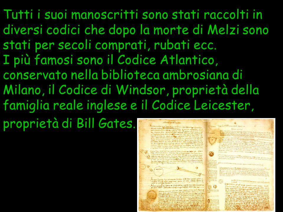 Tutti i suoi manoscritti sono stati raccolti in diversi codici che dopo la morte di Melzi sono stati per secoli comprati, rubati ecc.