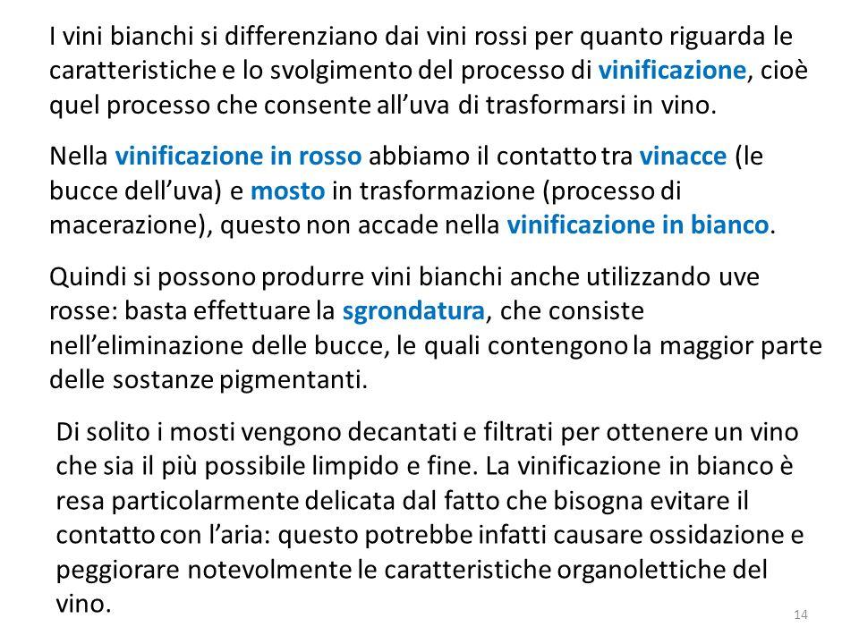 I vini bianchi si differenziano dai vini rossi per quanto riguarda le caratteristiche e lo svolgimento del processo di vinificazione, cioè quel processo che consente all'uva di trasformarsi in vino.