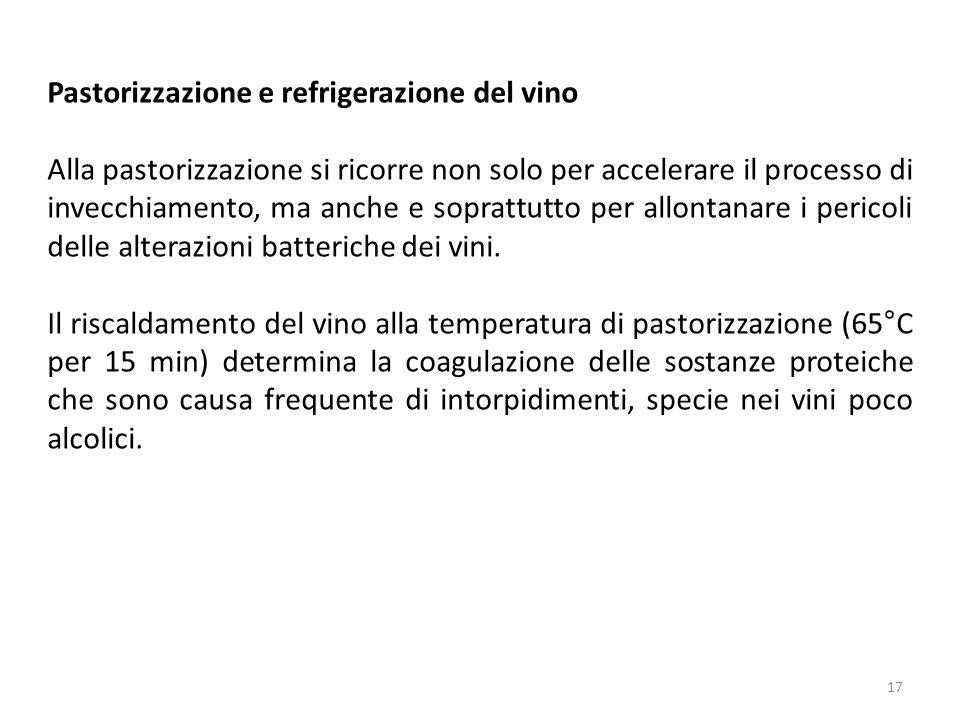 Pastorizzazione e refrigerazione del vino