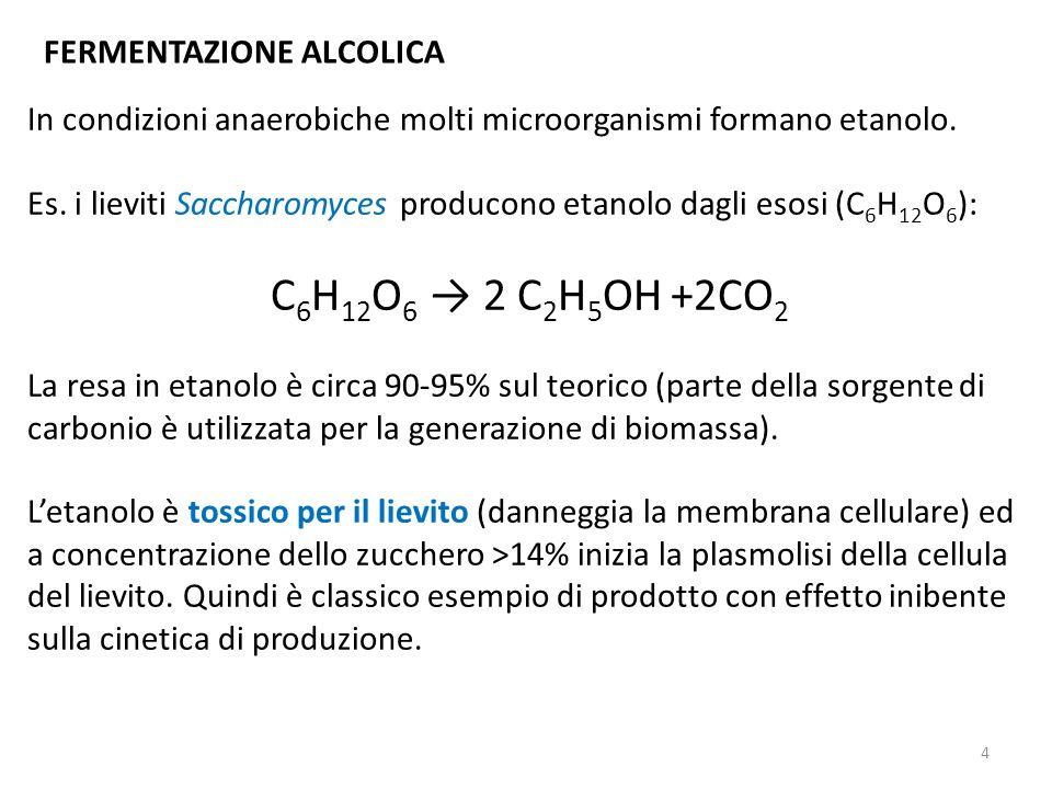 C6H12O6 → 2 C2H5OH +2CO2 FERMENTAZIONE ALCOLICA