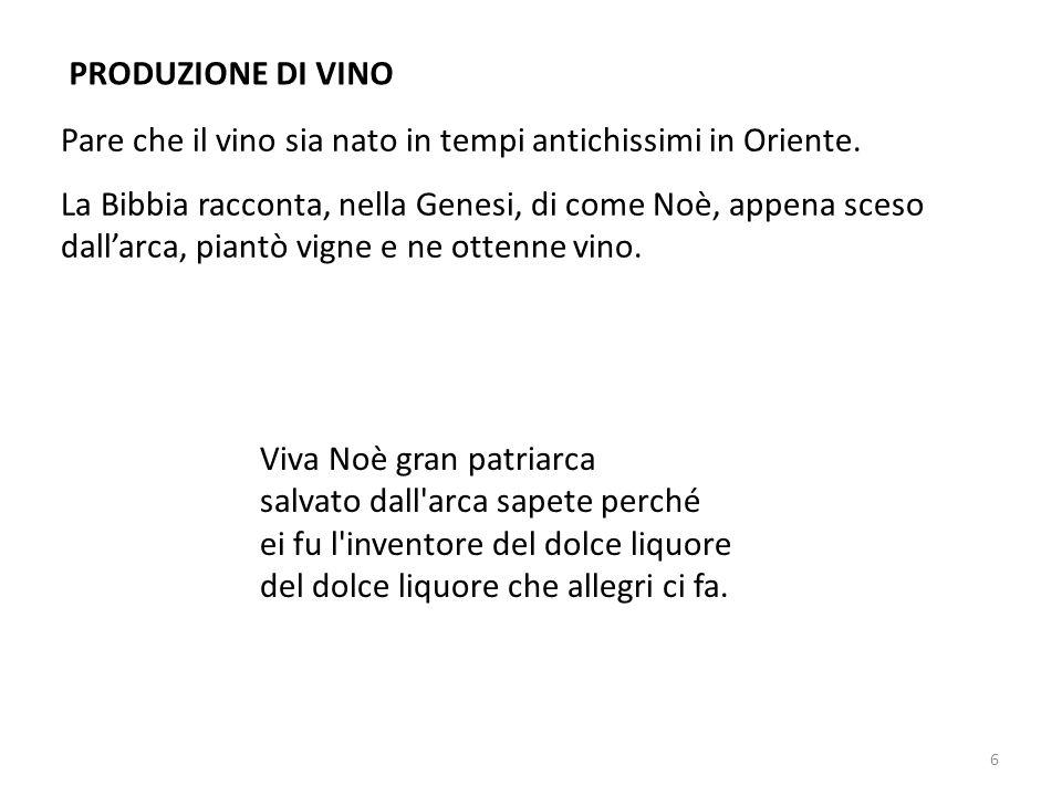 PRODUZIONE DI VINO Pare che il vino sia nato in tempi antichissimi in Oriente.