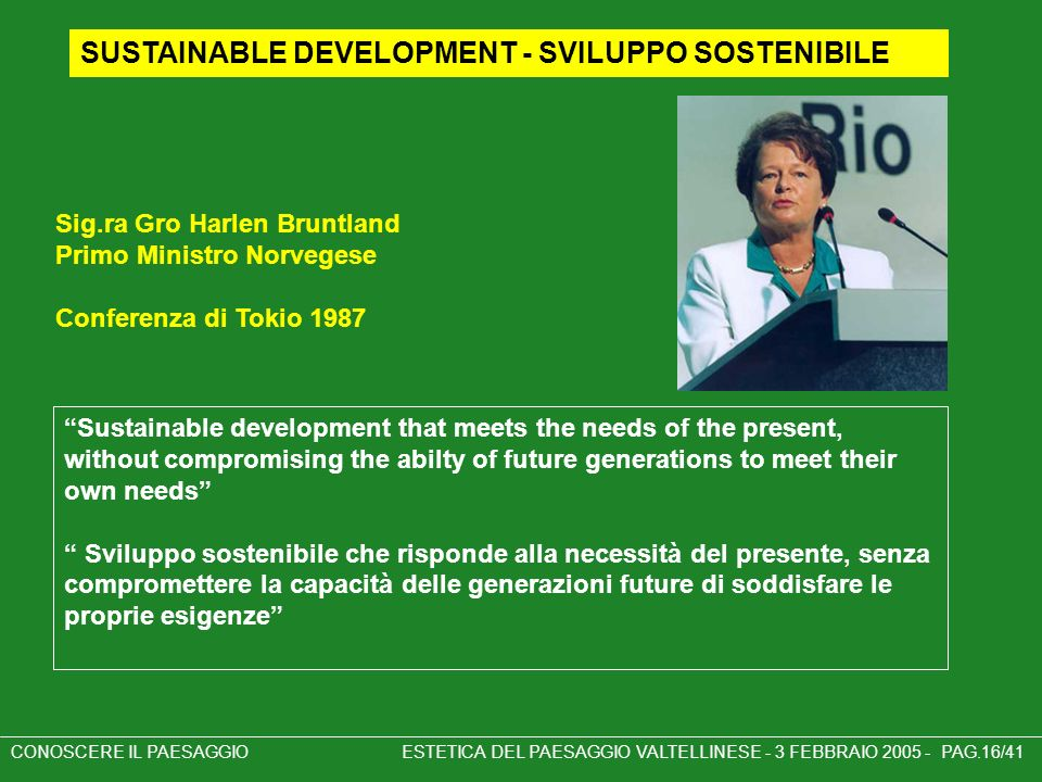SUSTAINABLE DEVELOPMENT - SVILUPPO SOSTENIBILE