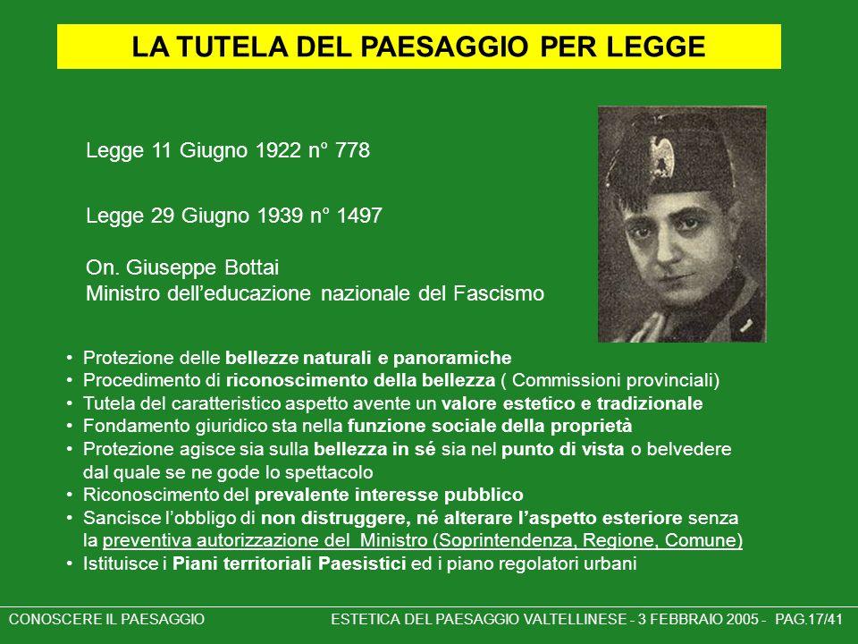 LA TUTELA DEL PAESAGGIO PER LEGGE