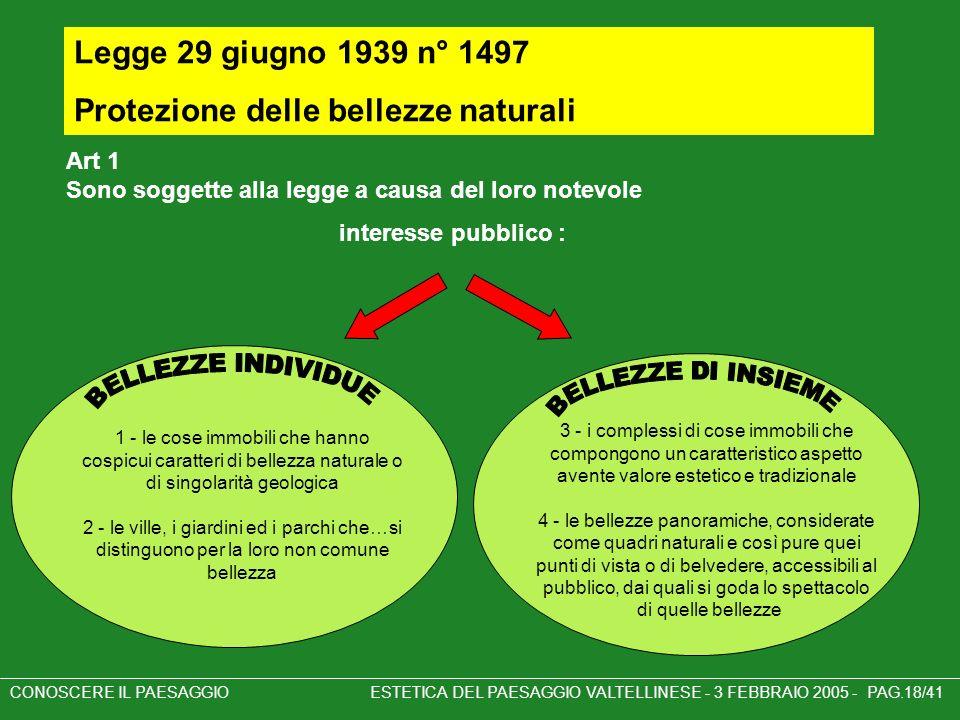 BELLEZZE INDIVIDUE BELLEZZE DI INSIEME Legge 29 giugno 1939 n° 1497