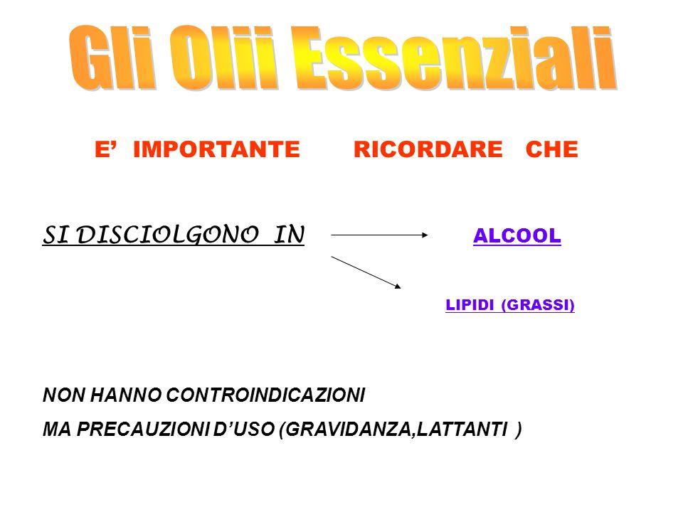 Gli Olii Essenziali SI DISCIOLGONO IN ALCOOL