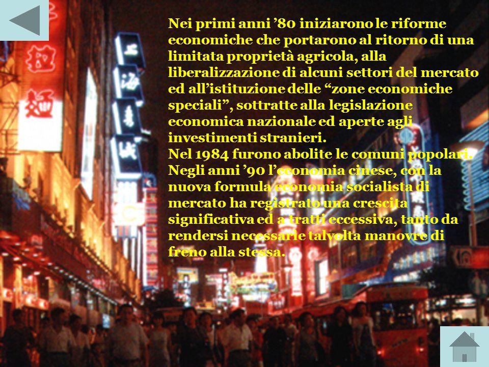 Nei primi anni '80 iniziarono le riforme economiche che portarono al ritorno di una limitata proprietà agricola, alla liberalizzazione di alcuni settori del mercato ed all'istituzione delle zone economiche speciali , sottratte alla legislazione economica nazionale ed aperte agli investimenti stranieri.