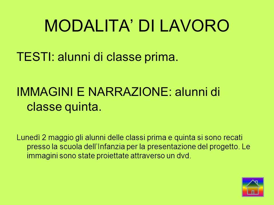 MODALITA' DI LAVORO TESTI: alunni di classe prima.