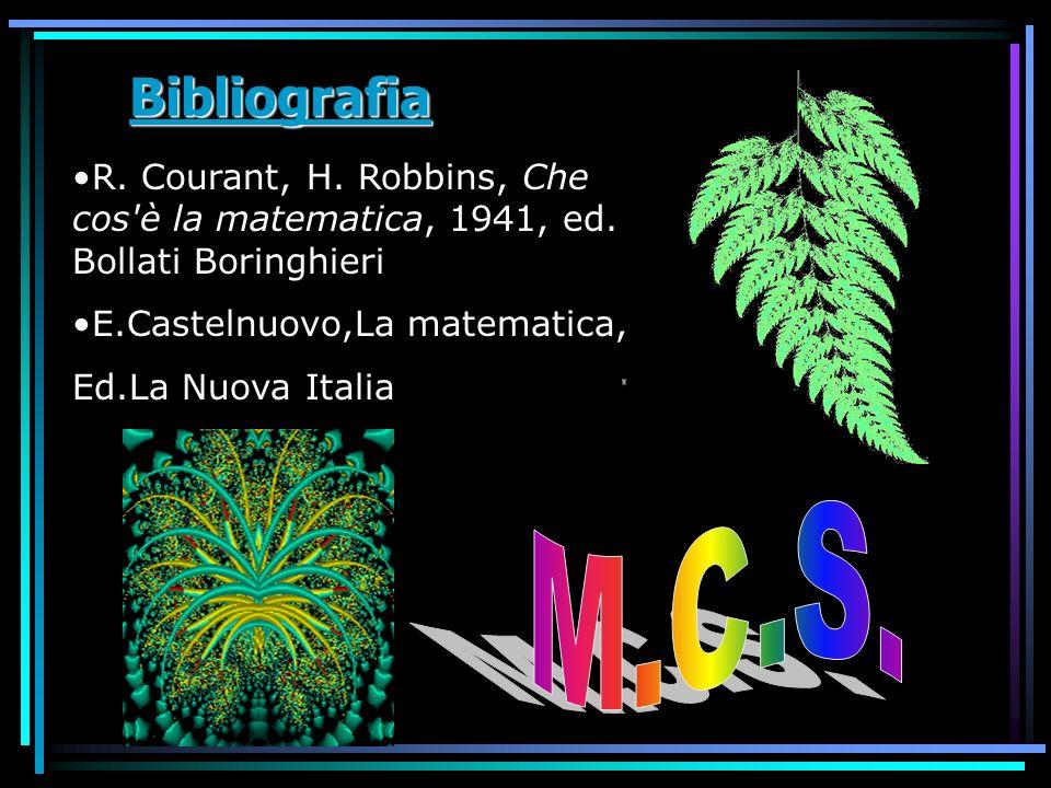 Bibliografia R. Courant, H. Robbins, Che cos è la matematica, 1941, ed. Bollati Boringhieri. E.Castelnuovo,La matematica,