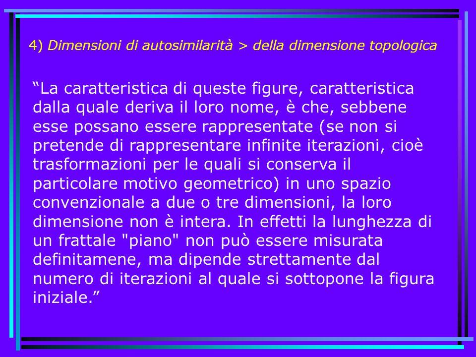 4) Dimensioni di autosimilarità > della dimensione topologica