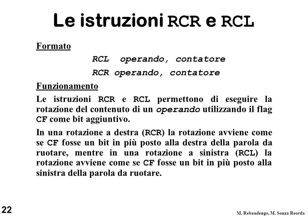 Le istruzioni RCR e RCL Formato RCL operando, contatore