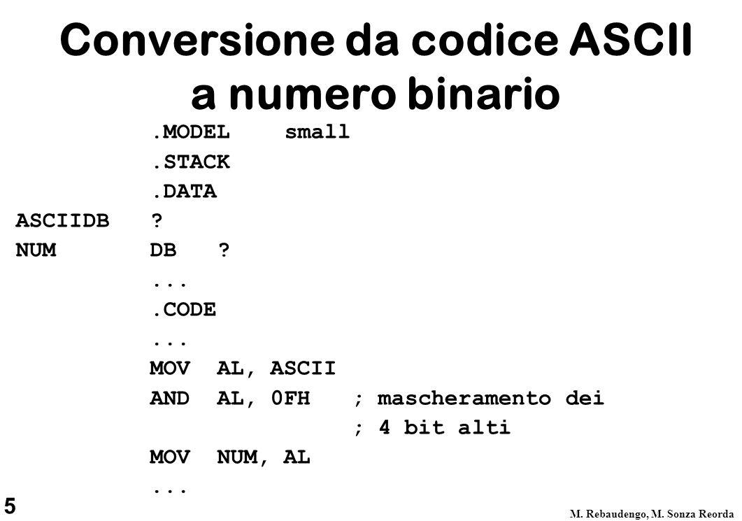 Conversione da codice ASCII a numero binario