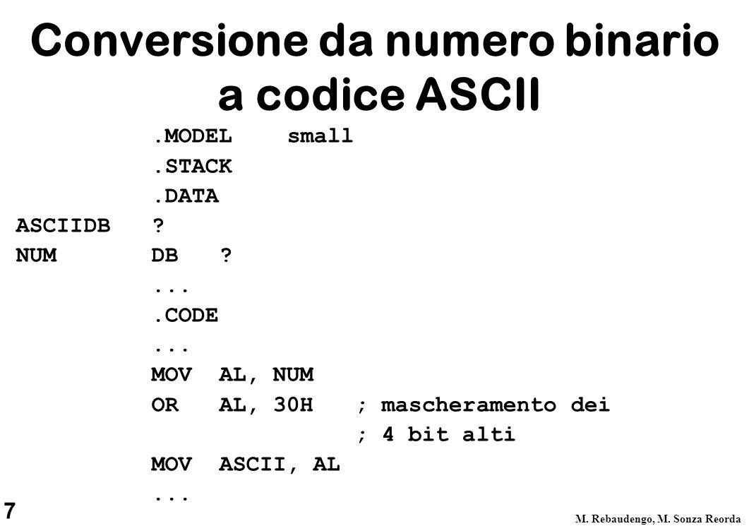 Conversione da numero binario a codice ASCII