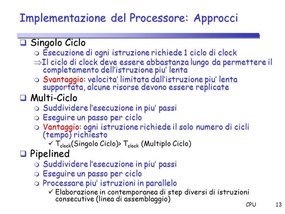 Implementazione del Processore: Approcci
