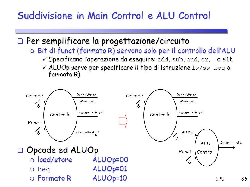 Suddivisione in Main Control e ALU Control