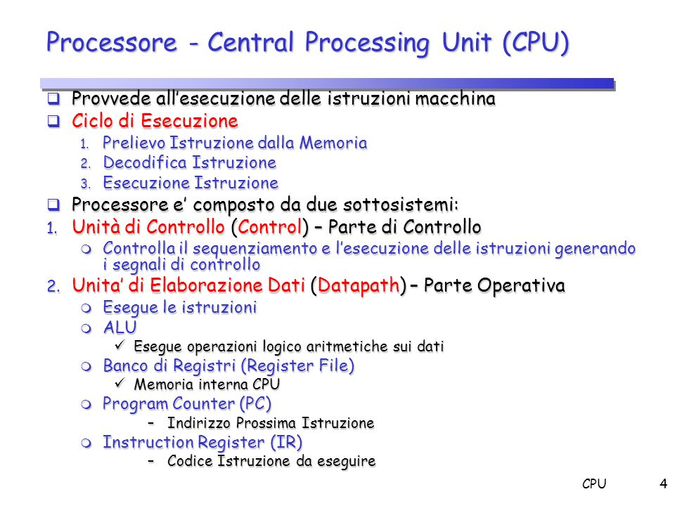 Processore - Central Processing Unit (CPU)