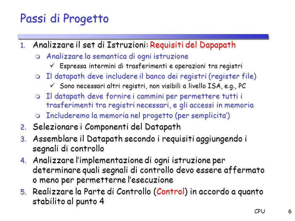 Passi di Progetto Analizzare il set di Istruzioni: Requisiti del Dapapath. Analizzare la semantica di ogni istruzione.