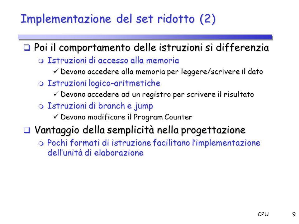 Implementazione del set ridotto (2)