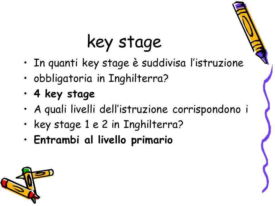 key stage In quanti key stage è suddivisa l'istruzione