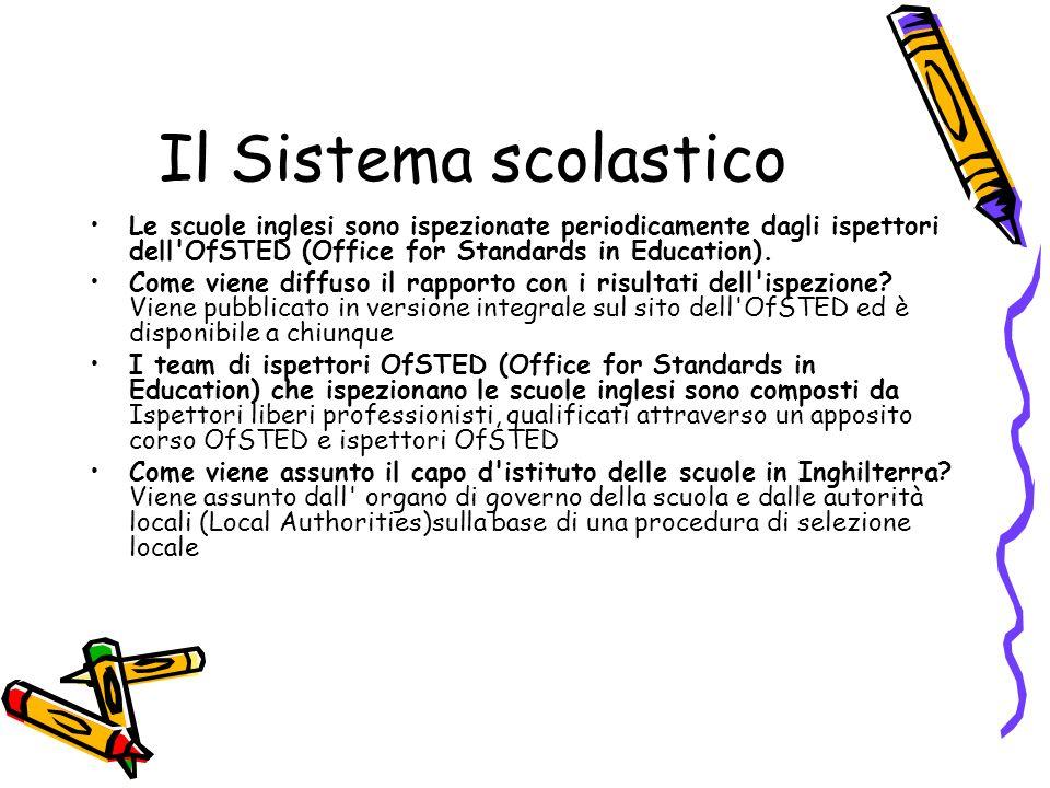 Il Sistema scolasticoLe scuole inglesi sono ispezionate periodicamente dagli ispettori dell OfSTED (Office for Standards in Education).